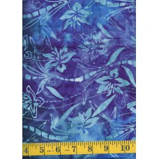 Anthology Batik 11105 - Flowers, Ribbons and Leaves on a Blue & Purple Background