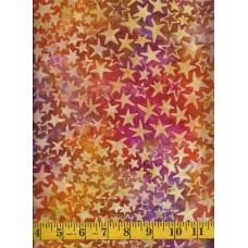 Anthology Batik 12007 - Yellow Stars on a Pink, Purple and Orange Background