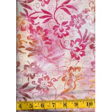Anthology Batik 12028 - Flowers Clusters in Peach, Pink, Brown & Gold