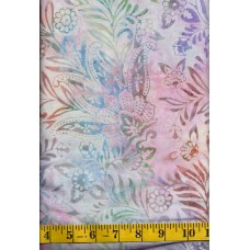 Anthology Batik 12043 - Flowers Plumes in Peach, Green, Blue, Lavender & Yellow