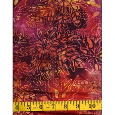 Anthology Batik 12075 - Leaf Burst Pattern on Orange, Red, Purple, Pink and Yellow