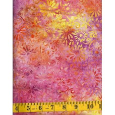 Anthology Batik 14076 - Flowers Clusters on Purple, Orange, Yellow & Pink