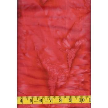 Anthology Batik 1462.1 Bright Orange Mottled Solid Blender Batik with Pink Accents