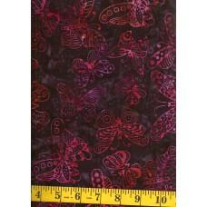 Anthology Batik 15225 - Red, Orange & Pink Butterflies on Eggplant