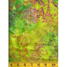 Anthology Batik 15249 - Mod Flowers on Lime Green