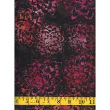 Anthology Batik 15430 - Pink, Peach & Orange Flower Clusters on Dark Brown