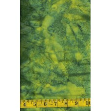 Anthology Batik 1880 Green Mottled Solid Blender Batik with Yellow Accents