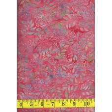 Anthology Batik 20092 - Green & Gray Leaf Pattern on Pink