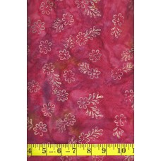 REMNANT - Batik Textiles 3149 - Small Peach Flowers & Leaves on a Hot Pink & Magenta Background - 15 INCHES X WOF