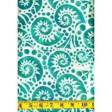 Batik Textiles 3205 - Turquoise Paisley Swirls & Dots on a Cream Tan Background