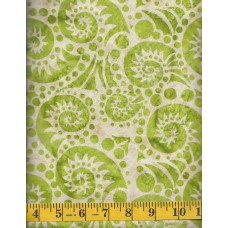 Batik Textiles 3209 - Green Paisley Swirls & Dots on a Cream Tan Background