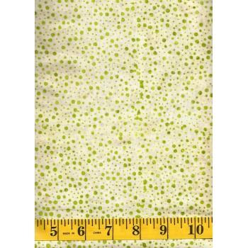 Batik Textiles 3211 - Tiny Green Dots on a Cream Tan Background