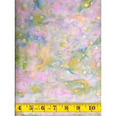 Batik Textiles 3224 - Pale Green Dots on a Pink, Blue & Green Background