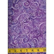 Batik Textiles 3307 - Lavender Curly Q Swirls on a Purple Background