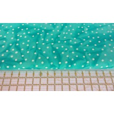 Batik Textiles 3318 - Cream Dots on a Turquoise Green Background