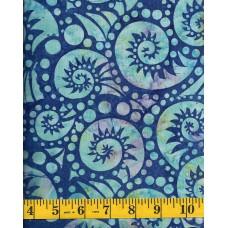 BOLT END - Batik Textiles 3322 - Aqua Paisley Swirls and Dots on a Blue Background