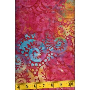 Batik Textiles 3815 Paisley Swirls in Orange, Turquoise, Green, Pink & Red