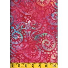 Batik Textiles 3927 Turquoise, Yellow & Green Paisley Swirls on Pink/Red