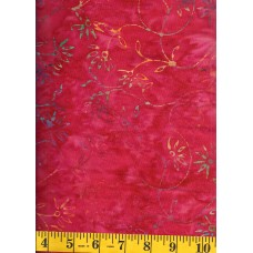 Batik Textiles 3928 Turquoise, Yellow & Green Trailing Flowers on Pink/Red