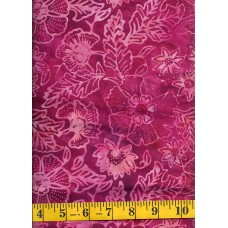 Benartex Batik 03780-26 Floral & Leaf Pattern in Peach & Fuchsia
