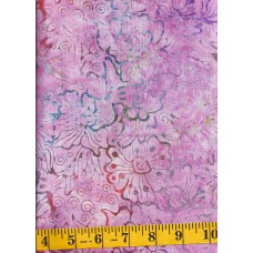 Benartex Batik 07074-28 Flowers & Swirls in Pink, Orange, Green, Purple and Blue