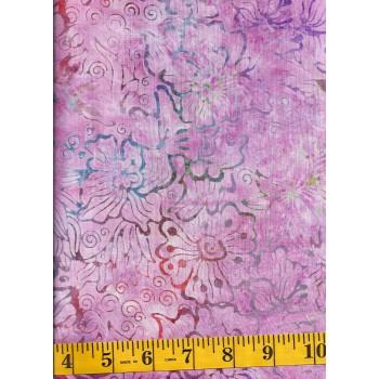 Benartex Batik 07074-28 Flowers & Swirls in Pink, Orange, Green, Purple and Blue