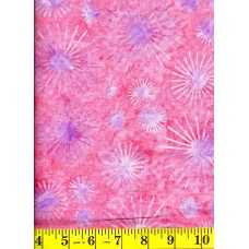 Cantik Batik 1029-315 Lavender Dandelion Blooms on a Pink Background