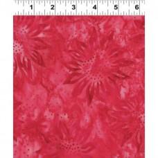 Clothworks Batik FB003-40 - Pink Red Flowers on a Pink Background
