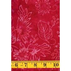 Clothworks Batik FB018-81 - Pink Flowers/Leaves on a Red Pink Background