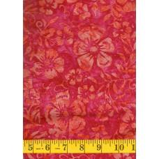 Clothworks Batik FB020-75 - Orange Flowers & Leaves on a Pink Background