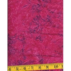 BOLT END - Clothworks Fresh Batiks Botanica III FB025-75 - Pink Flowers on Fuchsia & Purple - 1/2 YD