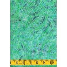 Clothworks Fresh Batiks Botanica III FB023-101 - Geometric Pattern on Bright Green