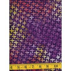 Henry Glass Batik 8654-59 Purple, Orange and Gold Crosses on a Purple Background