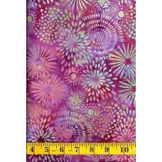 Island Batik Sweet Nector 121609335 Green & Peach Petal Bursts on Pink & Purple