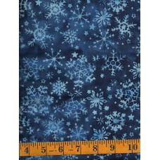 Island Batik Alpine Ice 121720570 - Blue Snowflakes on Dark Blue