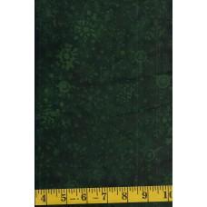 Island Batik Alpine Jungle 121723685 - Green Snowflakes on Dark Green
