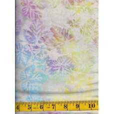 BOLT END - Island Batik IS14T-X1 - Pastel Multi Color Leaves on a Tan Background - 1/2 yd