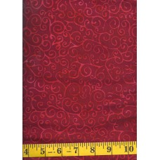 Island Batik IS14U-DD2 - Red Orange Swirls on a Red Background
