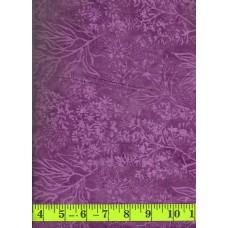 Island Batik Blue Mint IS14H-M1 - Purple Flowers & Leaves on a Purple Background