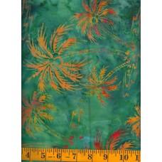 Princess Mirah Batik BO-6-7708 Orange/Yellow Palm Trees on Green