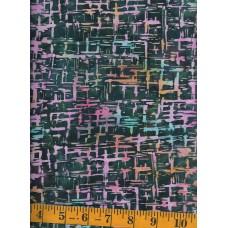 Princess Mirah Batik BO-9-1581 Light Pink, Peach & Aqua Static Design on Dark Green