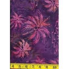 Princess Mirah Batik FM-6-7717 Pink/Peach Palm Trees on Purple