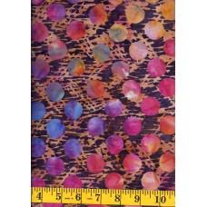 Princess Mirah Batik FM-9-9545 - Large Multi Color Dots on Purple & Gold