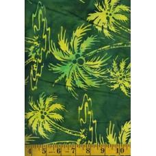 Princess Mirah Batik PA-6-7736 Yellow Palm Trees on Green