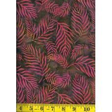 Princess Mirah Batik SR-17-9602 Pink & Orange Leafy Fronds on Green & Gold