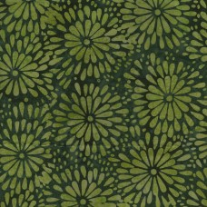 Island Batik Bluegrass Country IKF13E-C1 Green Floral Starburst Pattern on a Green Background