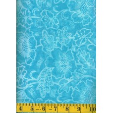 Timeless Treasures Tonga Batik B5672 FIJI Light Blue Flowers on Turquoise