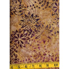 Timeless Treasures Tonga Batik B4360-HONEY Purple Flowers & Dots on Gold