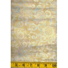 Timeless Treasures Tonga Batik B4389-BUFF Cream & Gray Floral Pattern on Cream & Gold