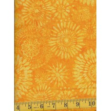 Timeless Treasures Tonga Batik B4860-CITRUS Yellow Floral Burst Pattern on Orange